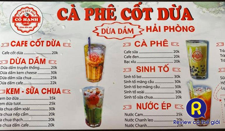 Giá cafe cốt dừa cô Hạnh, Hải Phòng