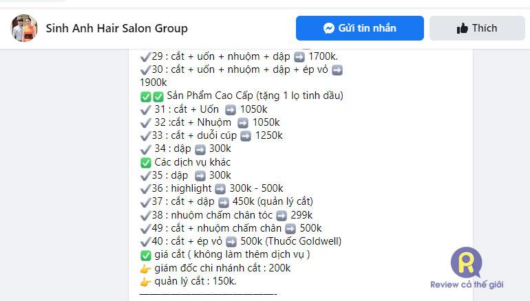 Bảng giá combo duỗi cúp kết hợp dịch vụ khác