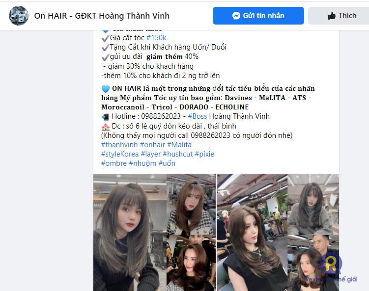 Giá cắt tóc layer nữ tại On Hair salon