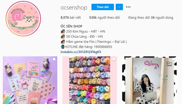 Ốc Sên shop bán phụ kiện cute trên instagram