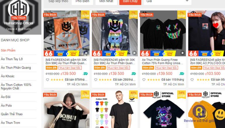 Haihaishop bán áo thun đẹp trên Shopee