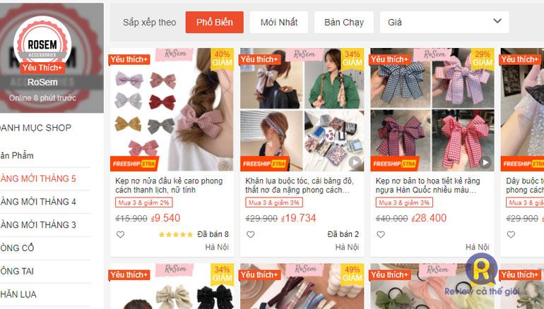 Shop Rosem bán phụ kiện đẹp trên Shopee