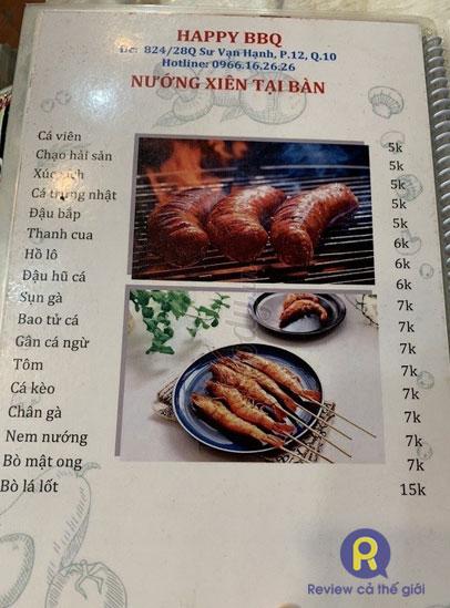Thực đơn quán nướng Happy BBQ